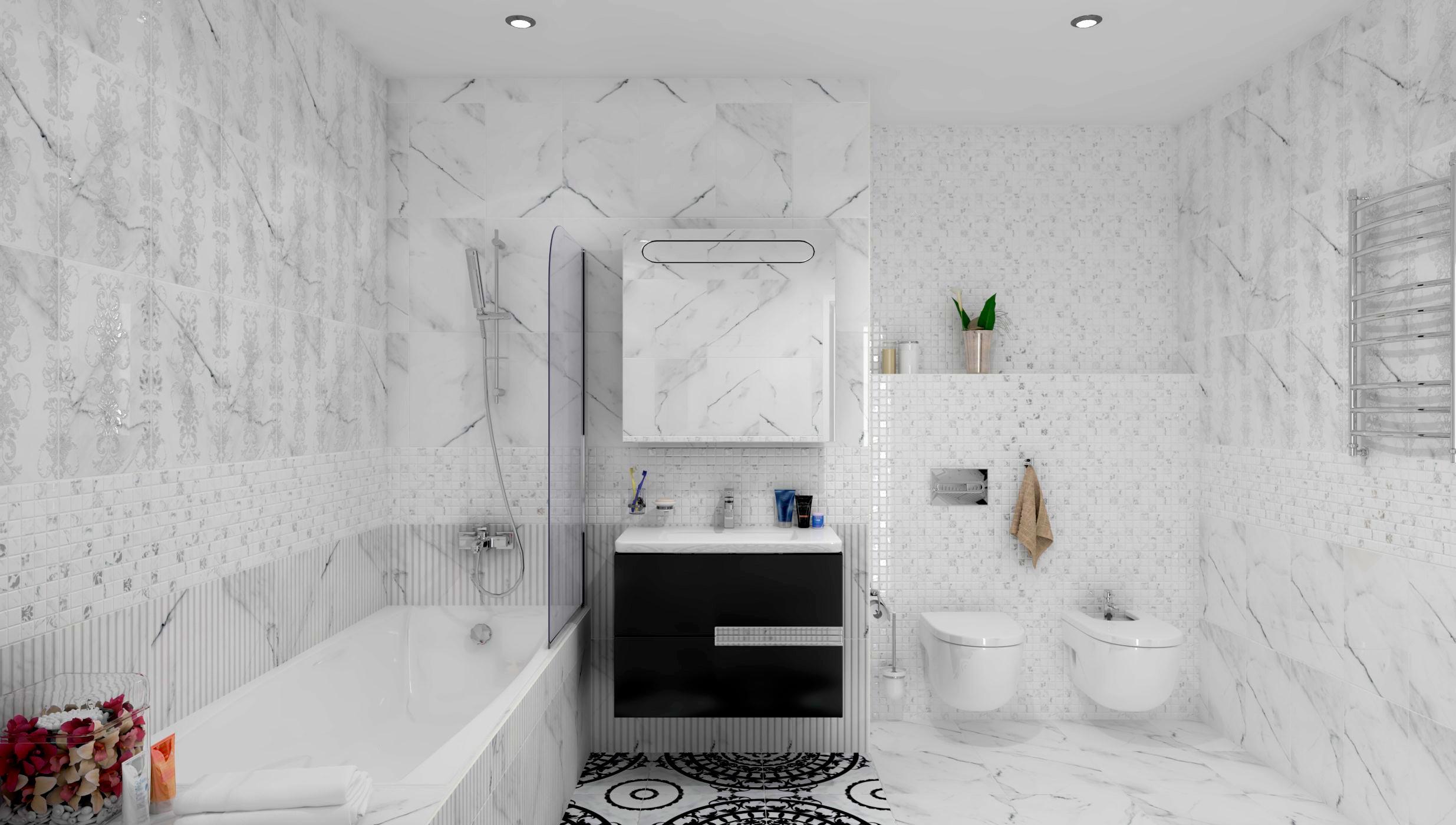 Преимущества и недостатки белой плитки в ванной 4