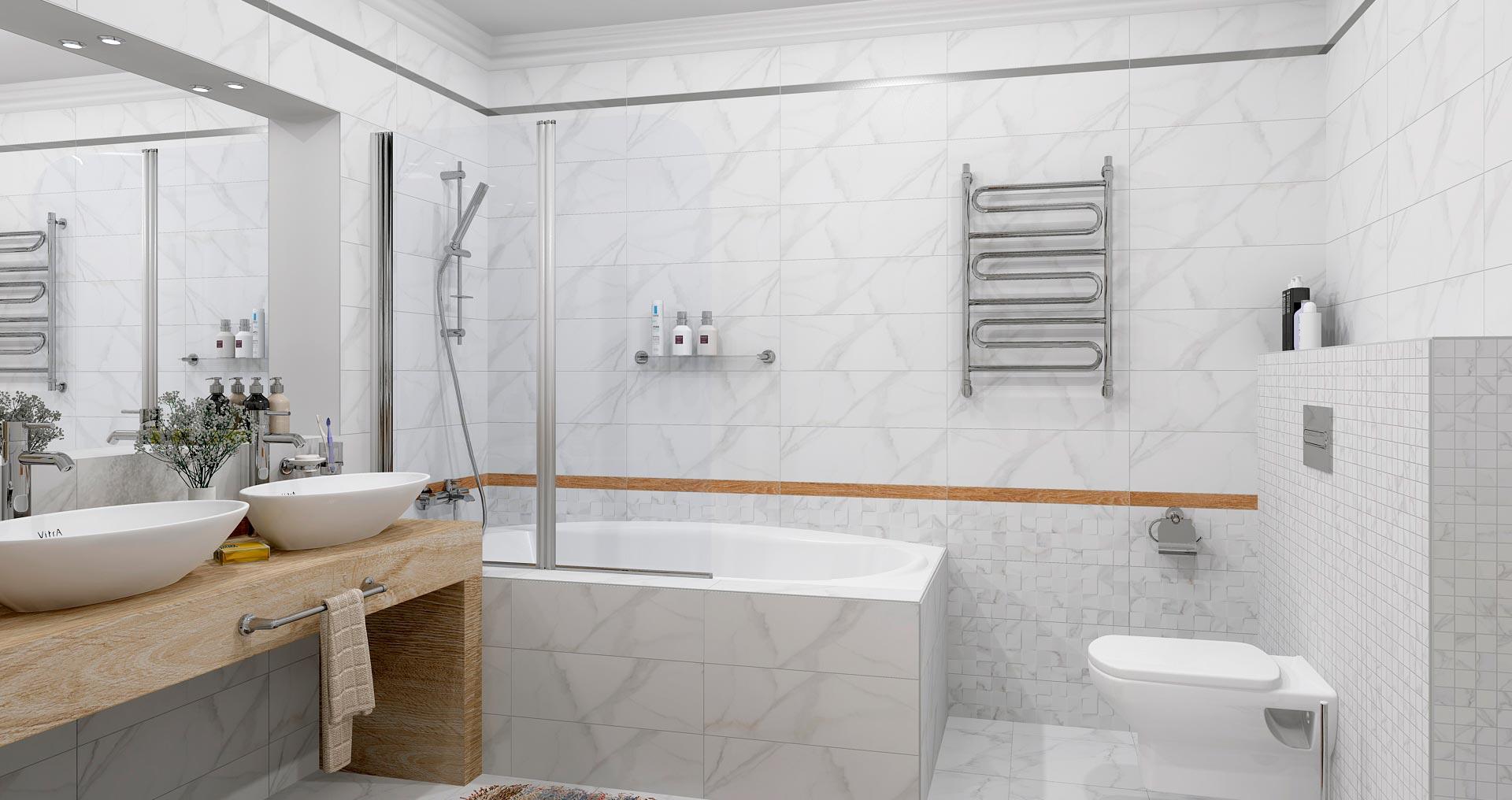 Размеры и формы белой плитки для ванны 4
