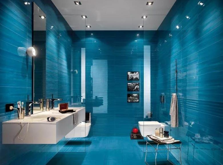 синий тон в ванной-современный дизайн