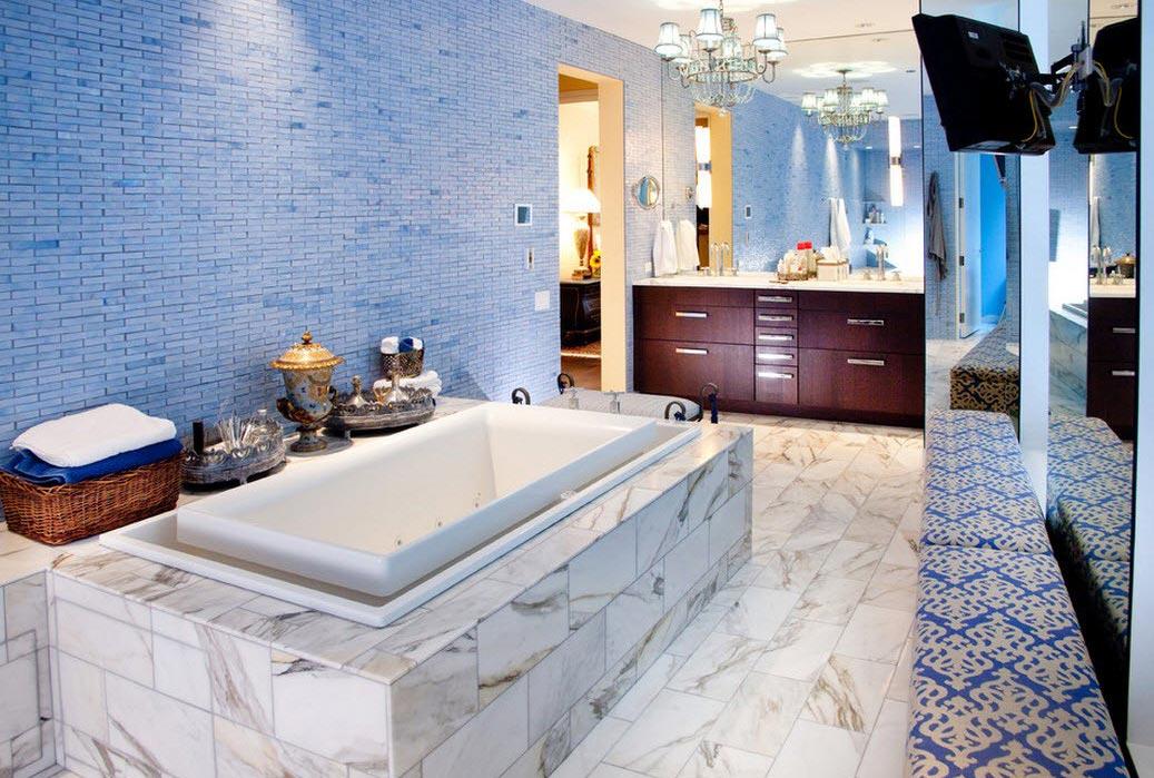 синяя ванная в современном стиле-дизайн