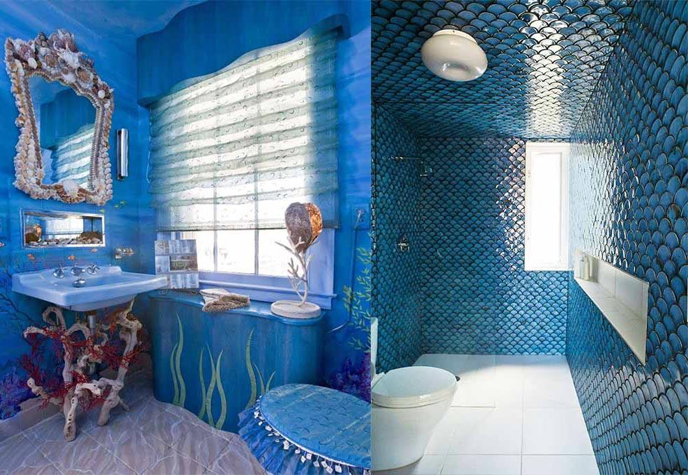 синяя ванная в современном стиле