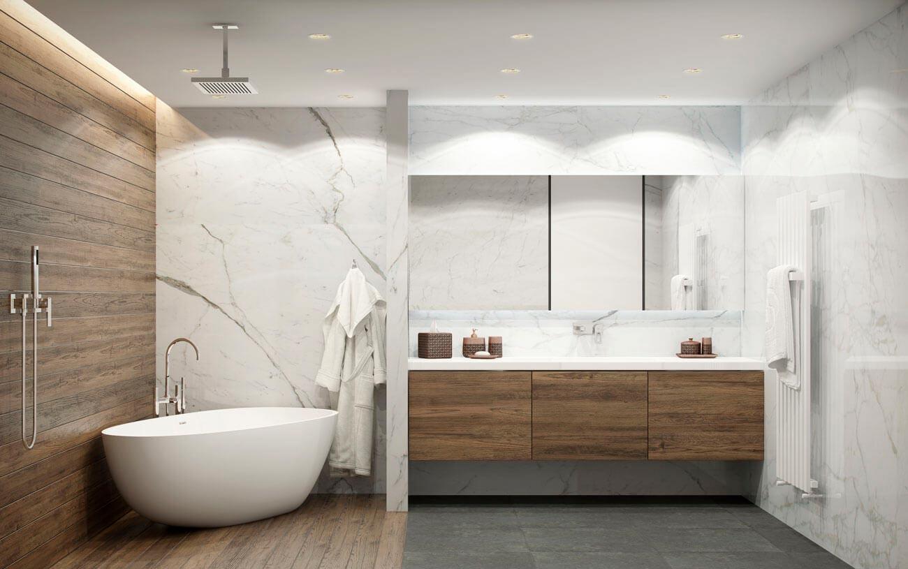 Сочетание дерева и белого мрамора в ванной 2