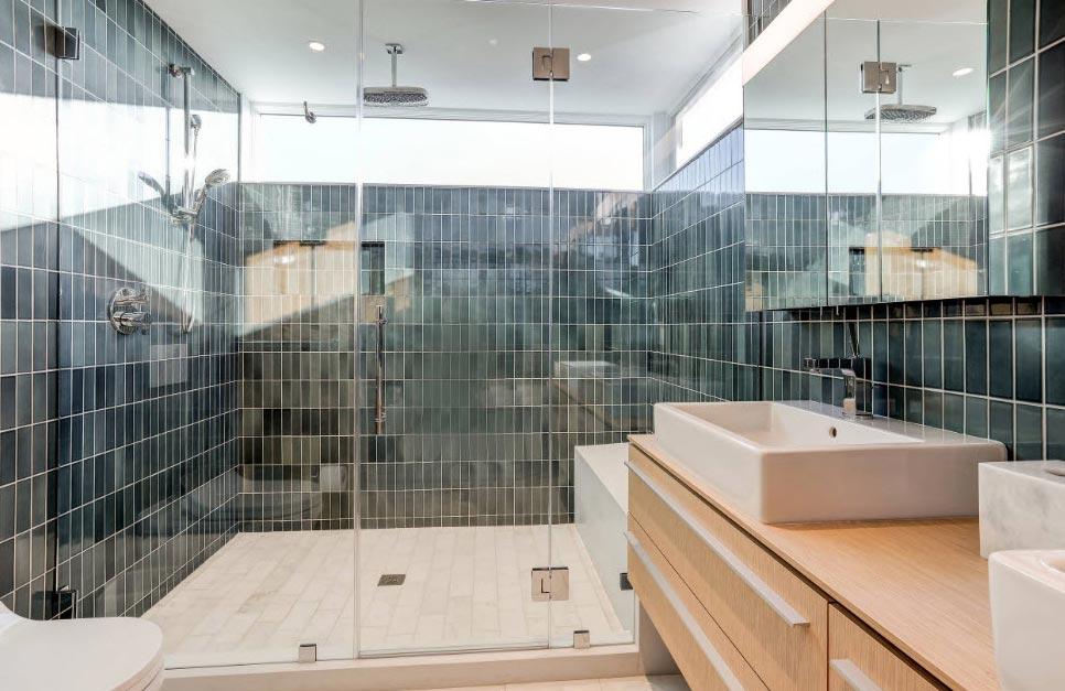 стеклянная плитка для ванной-современный дизайн