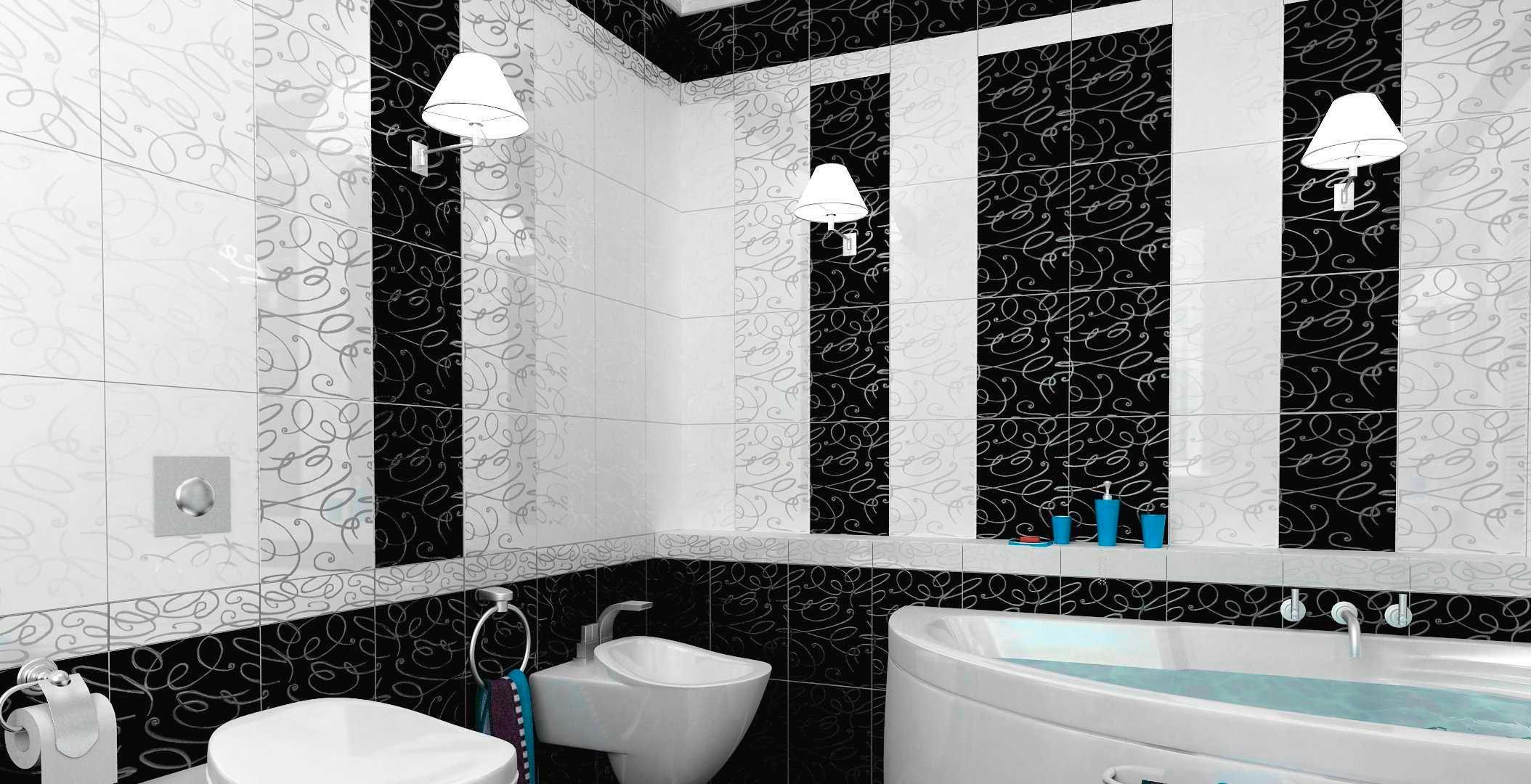 Стены из черно-белых плиток в ванной 2