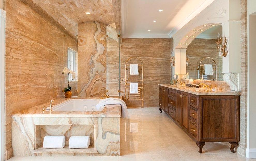 Стиль кантри для ванной комнаты в мраморе