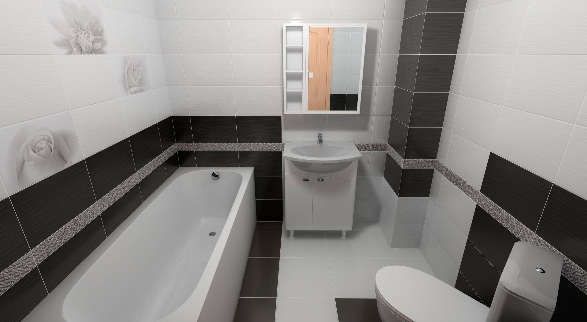 Тонкости отделки ванной комнаты в черно-белой цветовой гамме 3