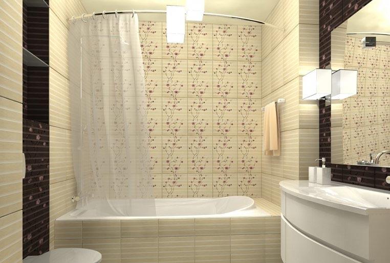 укладка плитки в маленькой ванной комнате