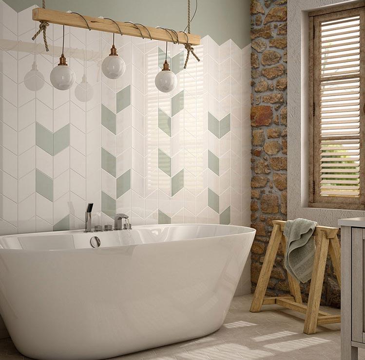укладка плитки в ванной елочкой дизайн