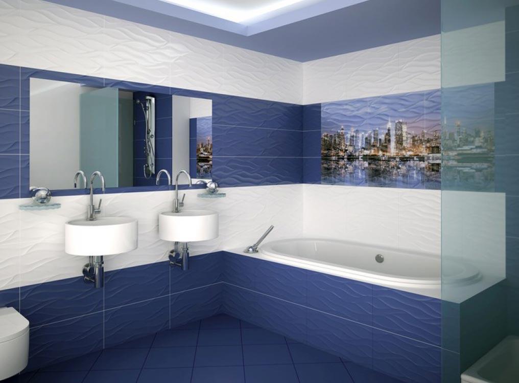 ванная из синей плитки