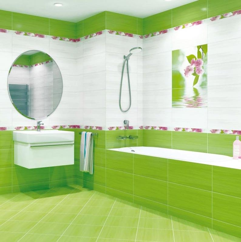 ванная в зеленых тонах