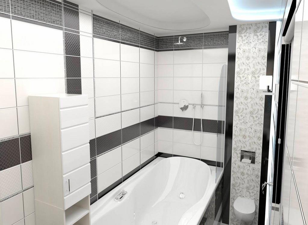 Варианты дизайна черно-белой ванны 2