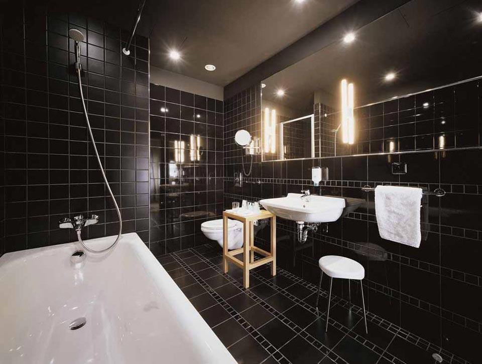 Варианты дизайна черно-белой ванны 23