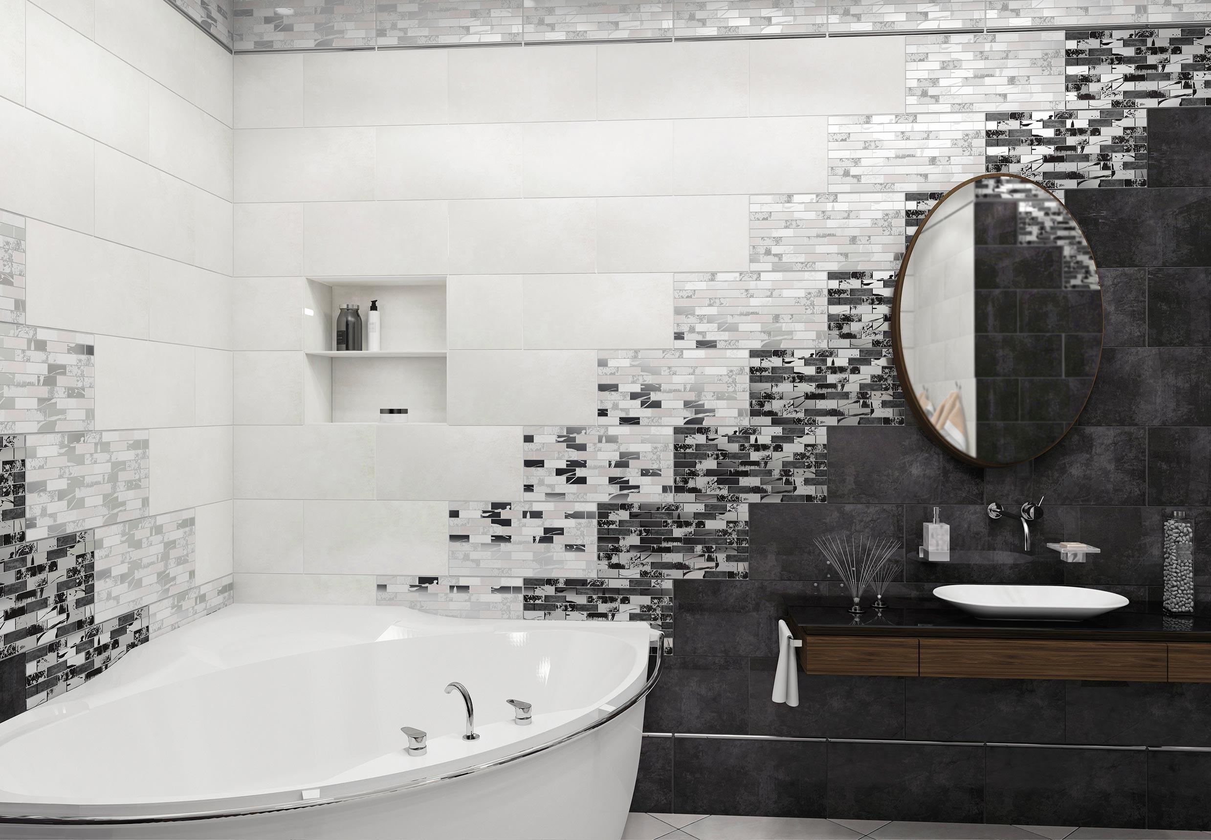 Варианты дизайна черно-белой ванны 29