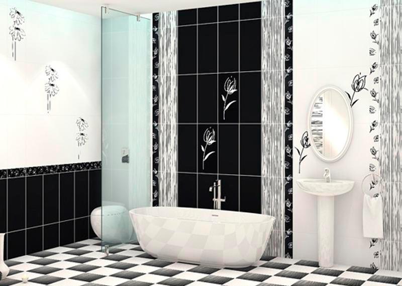 Варианты дизайна черно-белой ванны 3