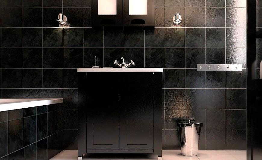Варианты дизайна черно-белой ванны 33
