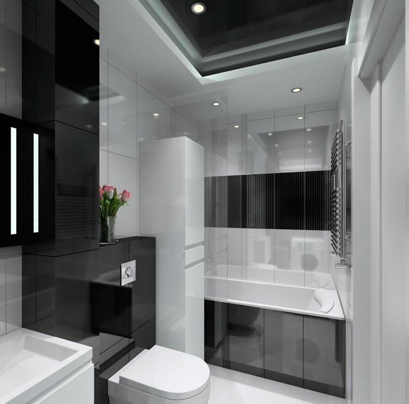 Варианты дизайна черно-белой ванны 34