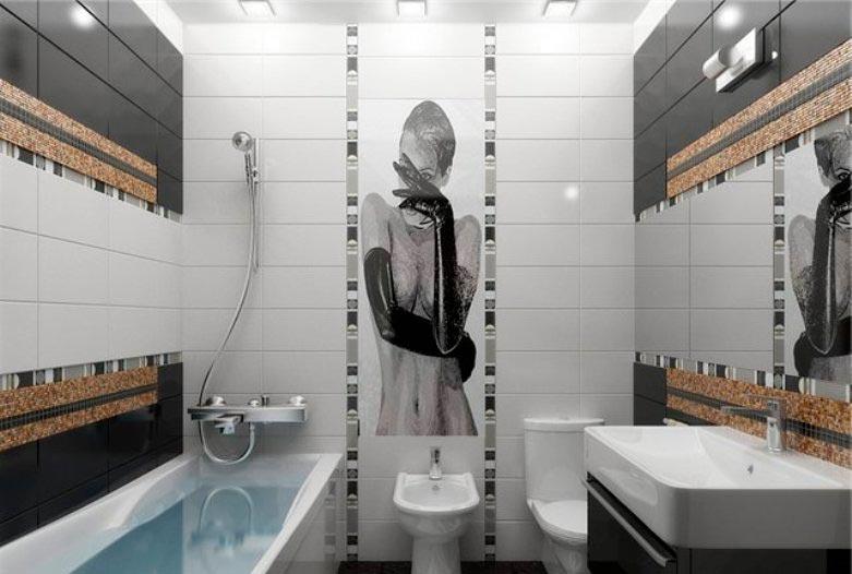 Варианты дизайна черно-белой ванны 46
