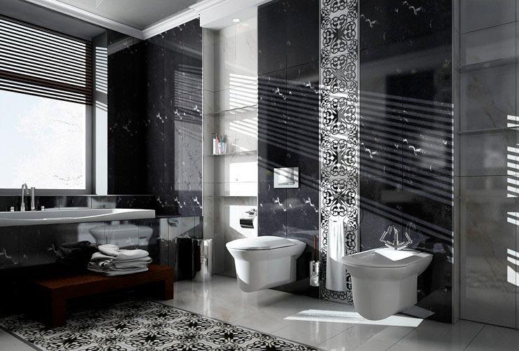 Варианты дизайна черно-белой ванны 47