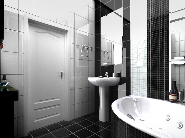 Варианты дизайна черно-белой ванны 5