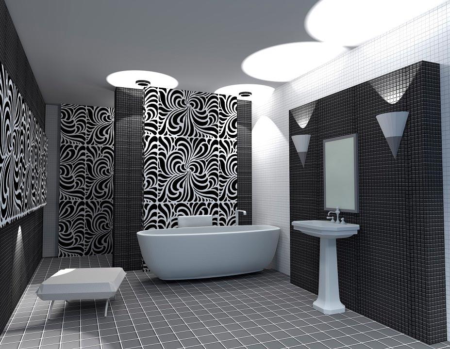 Варианты дизайна черно-белой ванны 54