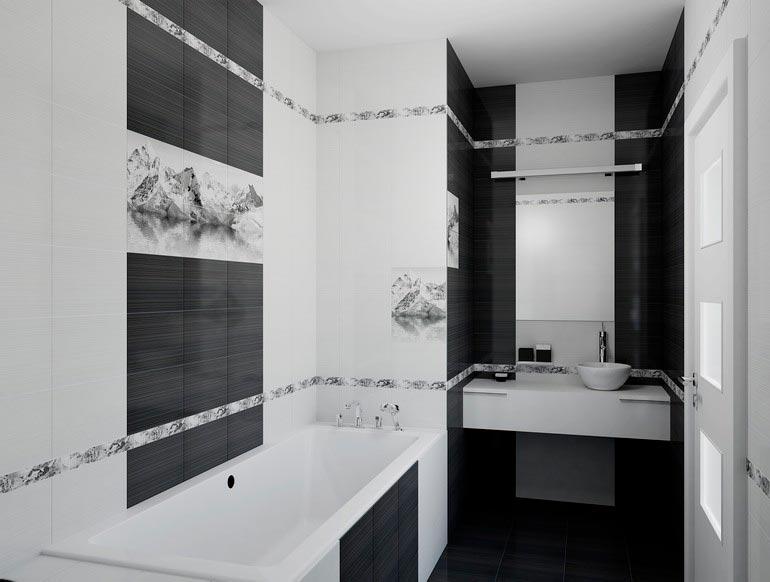 Варианты дизайна черно-белой ванны 57