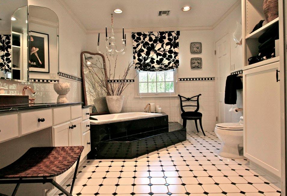 Варианты дизайна черно-белой ванны 58