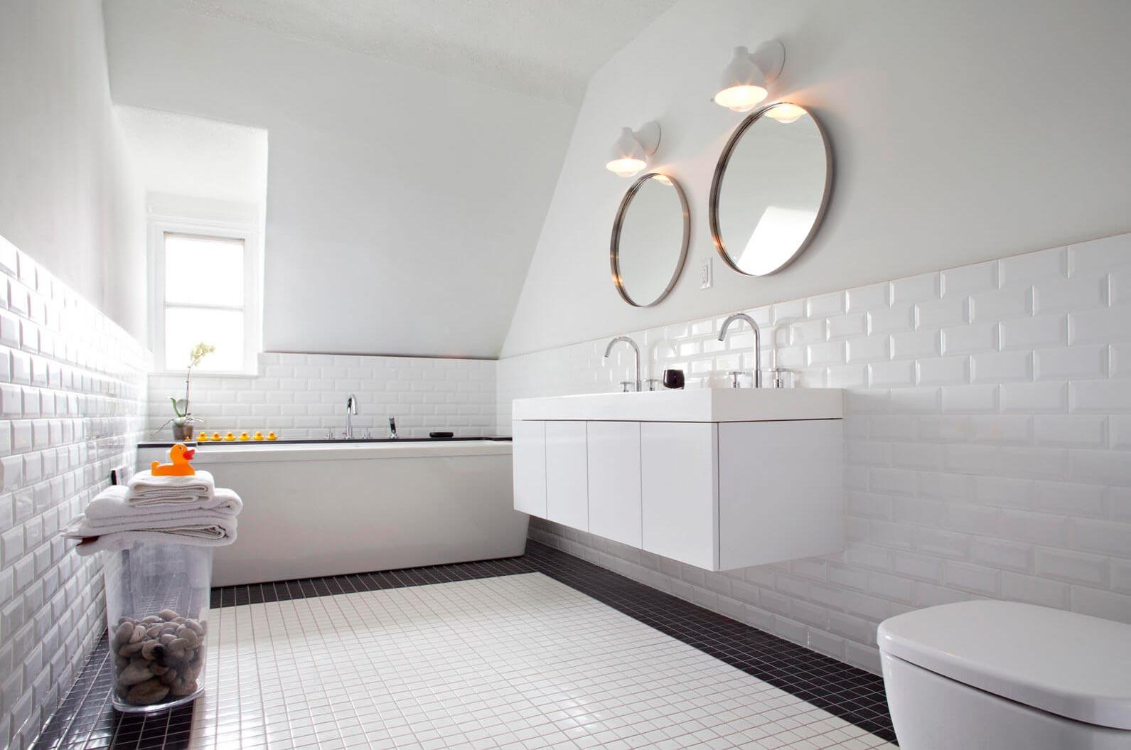 Варианты дизайна черно-белой ванны 61