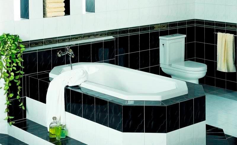 Варианты дизайна черно-белой ванны 67