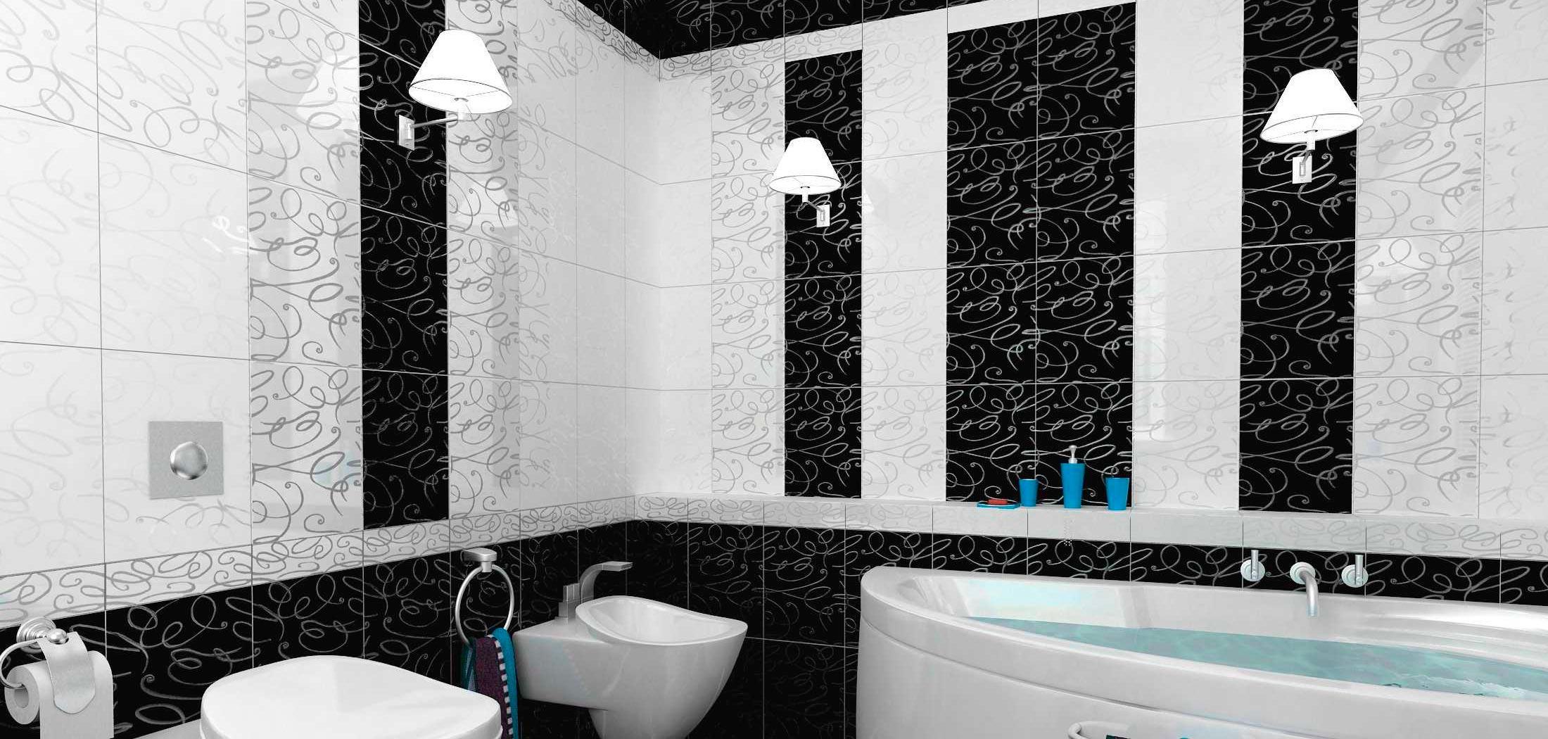 Варианты дизайна черно-белой ванны 7