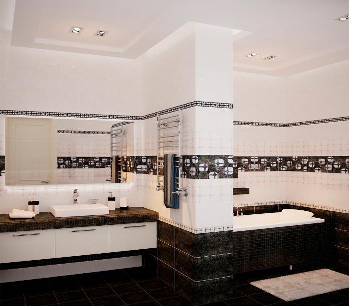 Варианты дизайна черно-белой ванны
