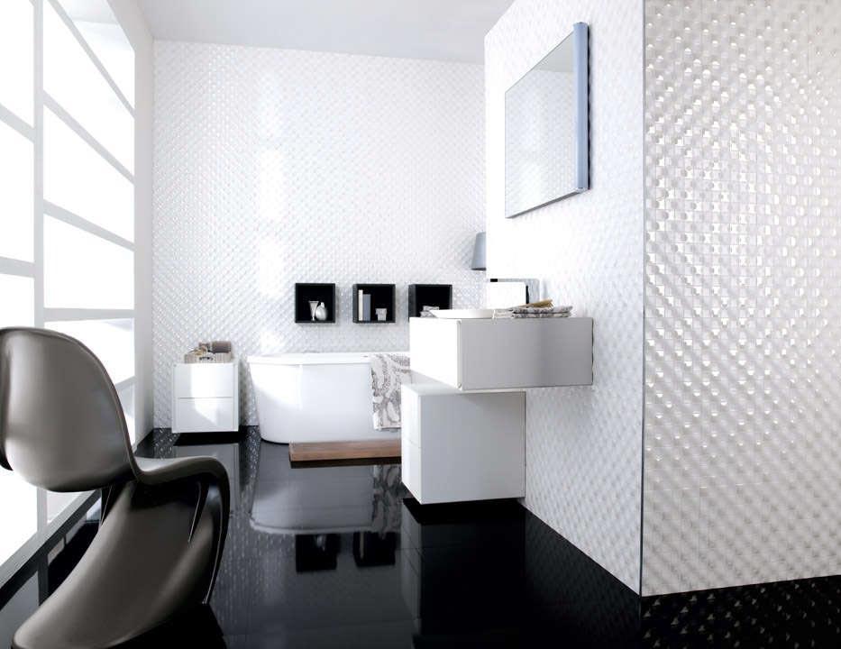 Варианты дизайна ванны с белой плиткой 13
