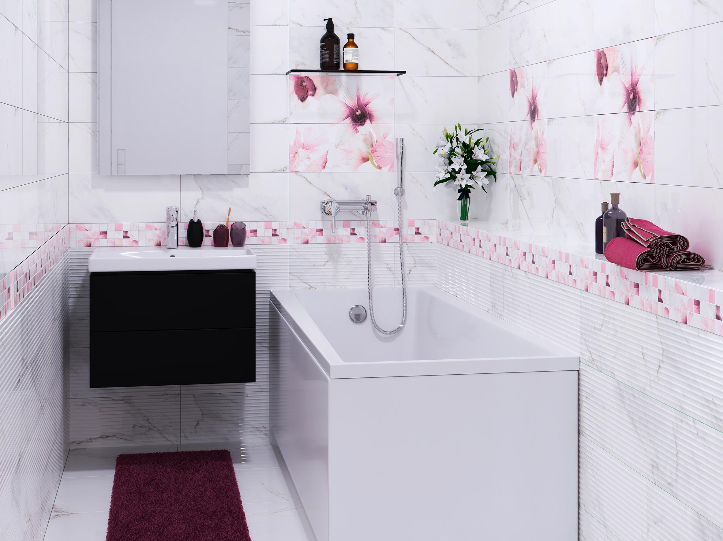 Варианты дизайна ванны с белой плиткой 15