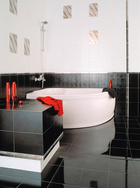 Варианты дизайна ванны с белой плиткой 24