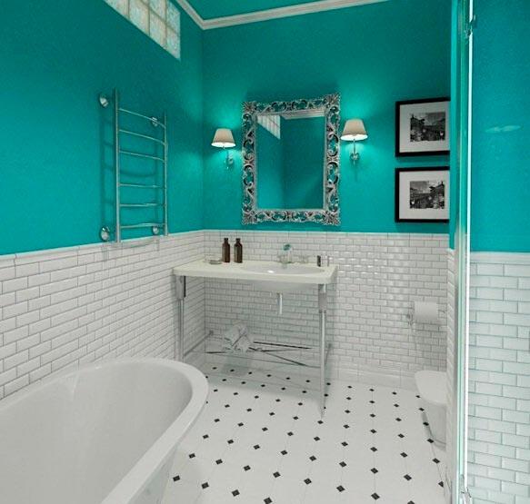 Варианты дизайна ванны с белой плиткой 27