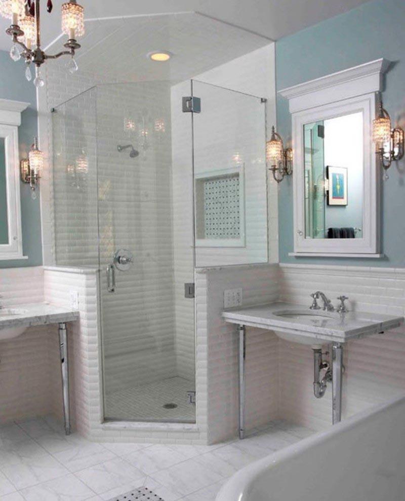 Варианты дизайна ванны с белой плиткой 28