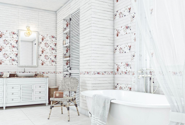 Варианты дизайна ванны с белой плиткой 30