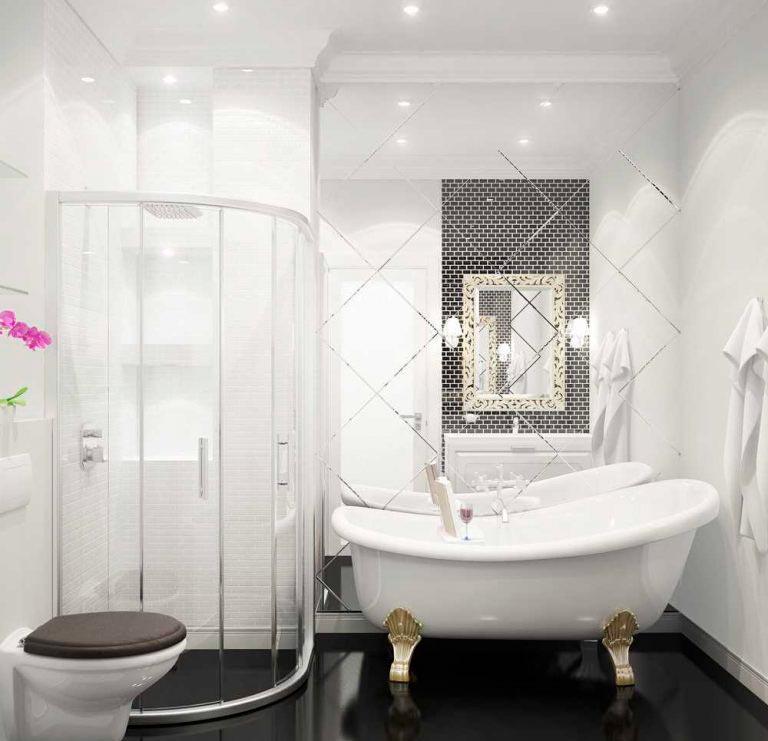 Варианты дизайна ванны с белой плиткой 7
