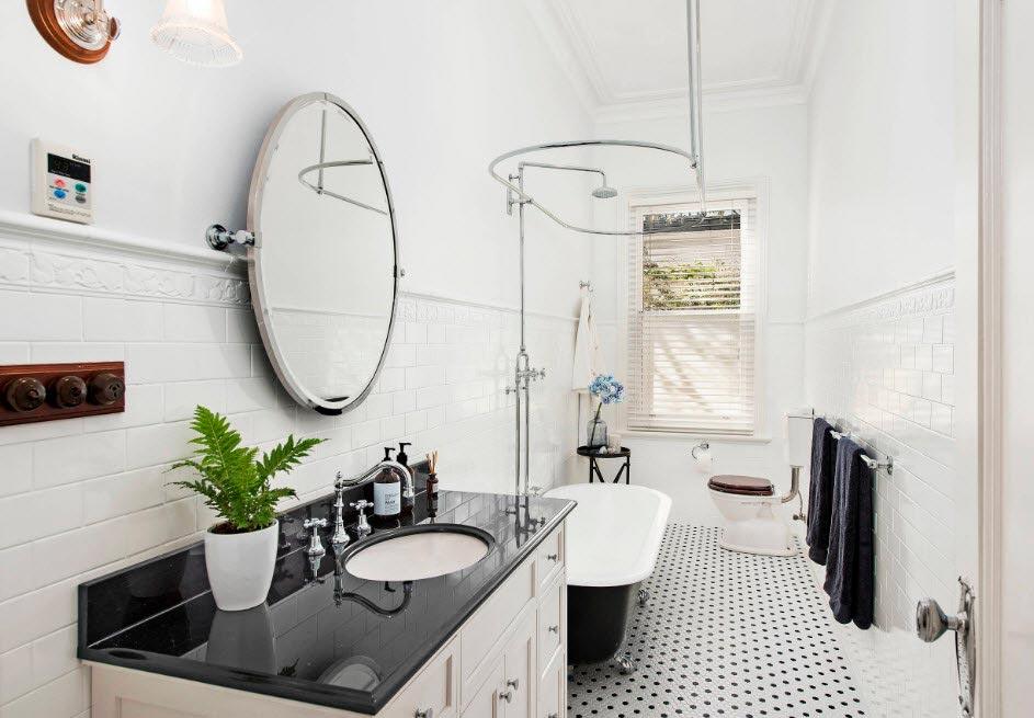 Варианты дизайна ванны с белой плиткой 8