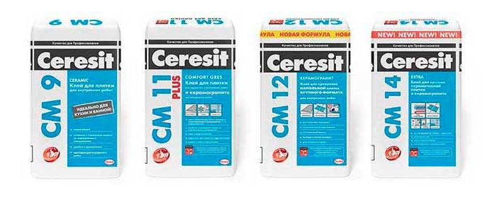 Виды клея Ceresit