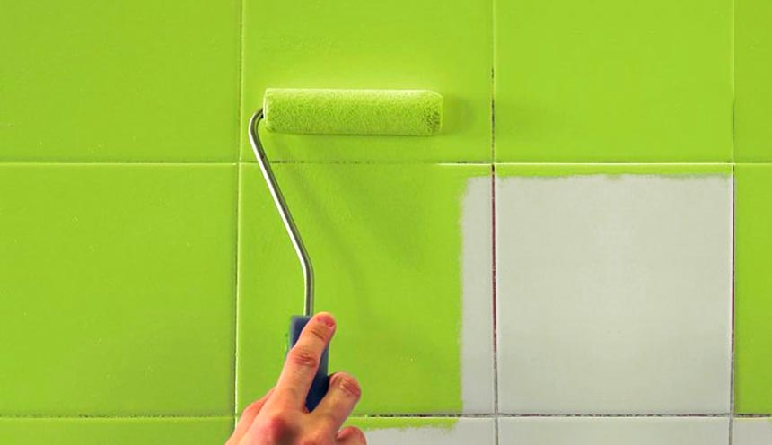 Возможные варианты окрашивания плитки в ванной