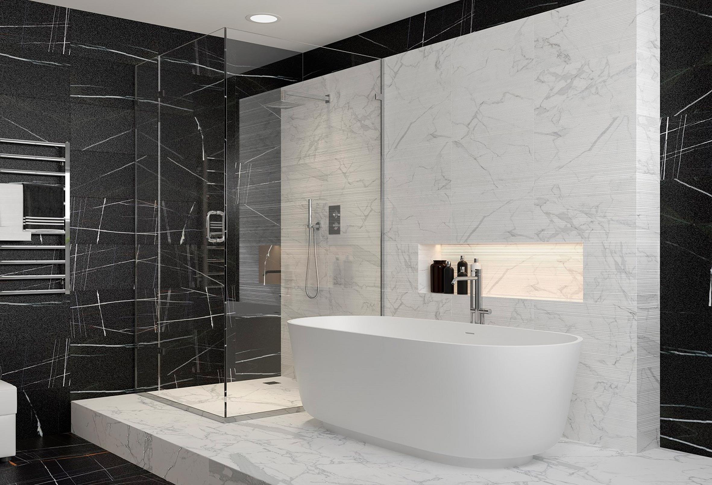 Выбор стиля для ванной комнаты в мраморе