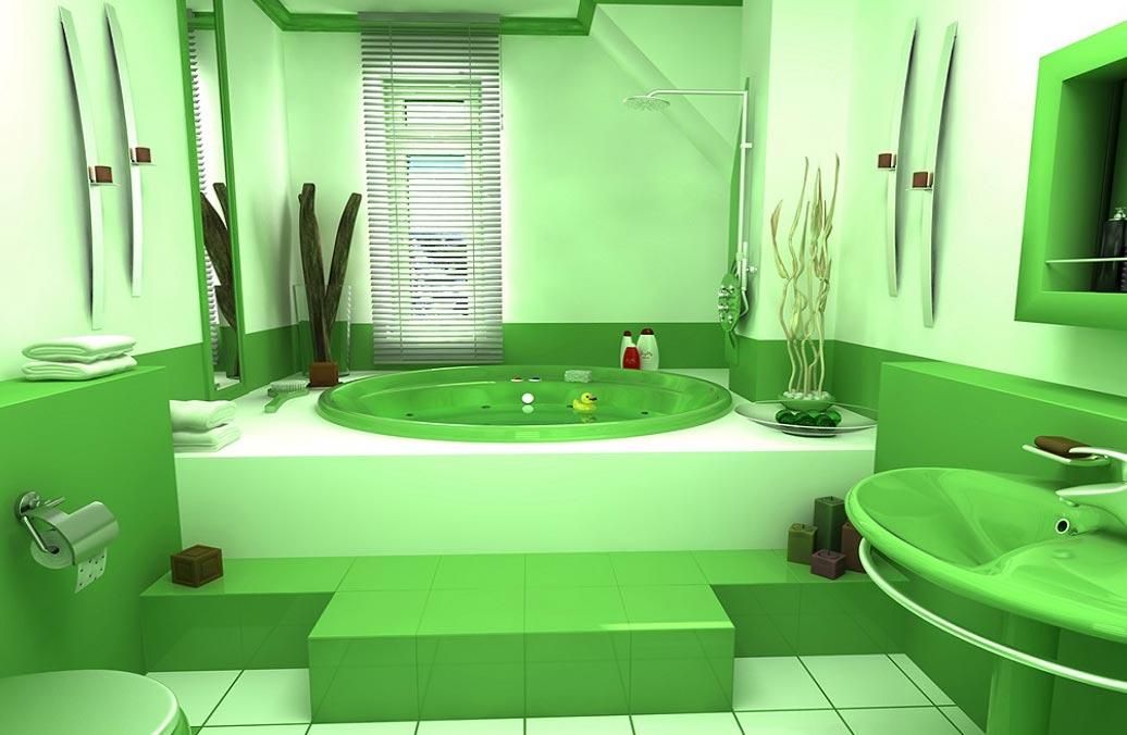 зеленая ванная в современном стиле