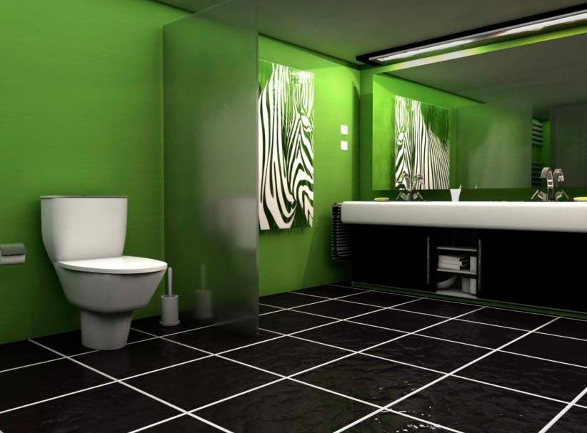 зеленый тон в ванной-современный дизайн