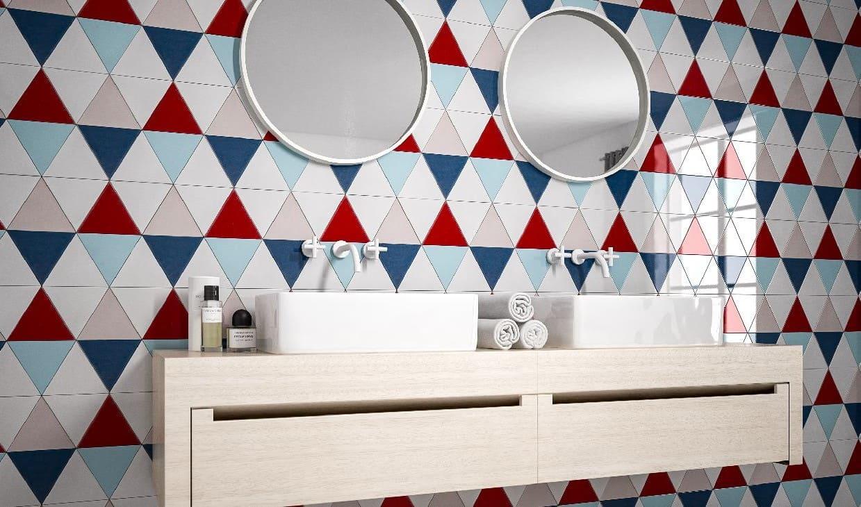 Геометрические узоры итальянская плитка в ванной