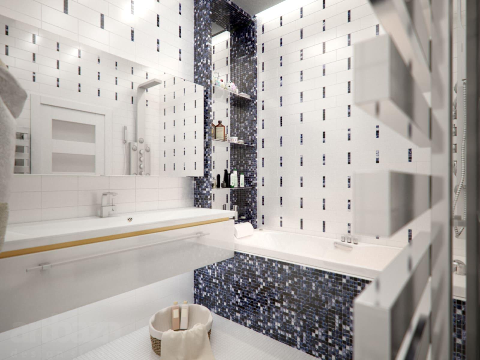 Сочетание большой плитки и мозаики в ванной