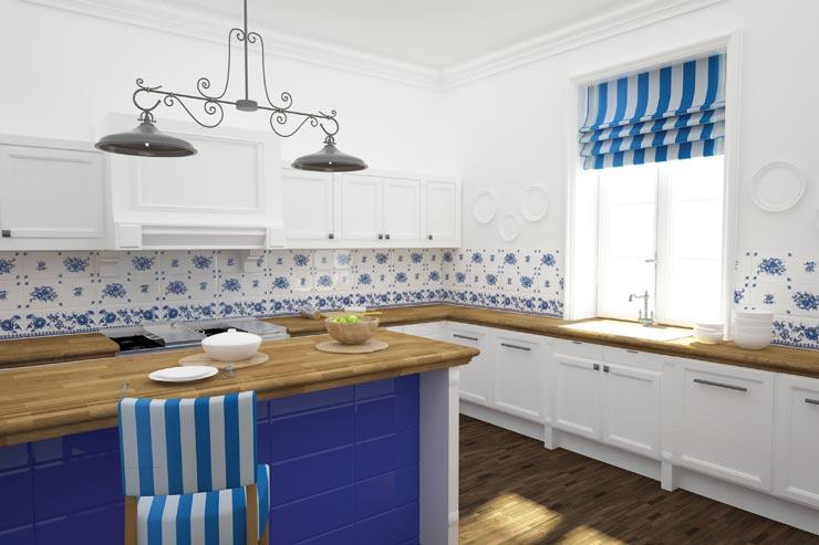 Бело-синяя плитка прованс на кухне