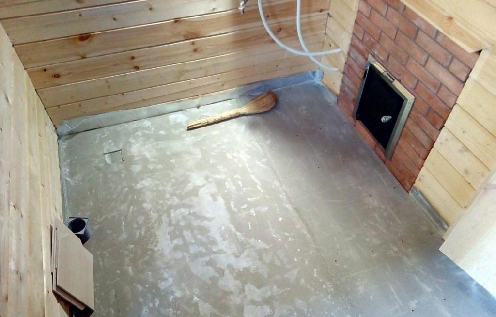бетонный пол со сливом