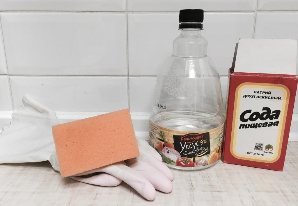 чистка швов между плиткой в ванной-сода и уксус