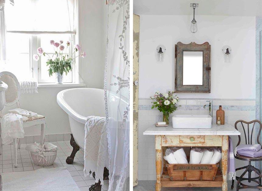 Цветовые решения ванной в стиле шебби-шик