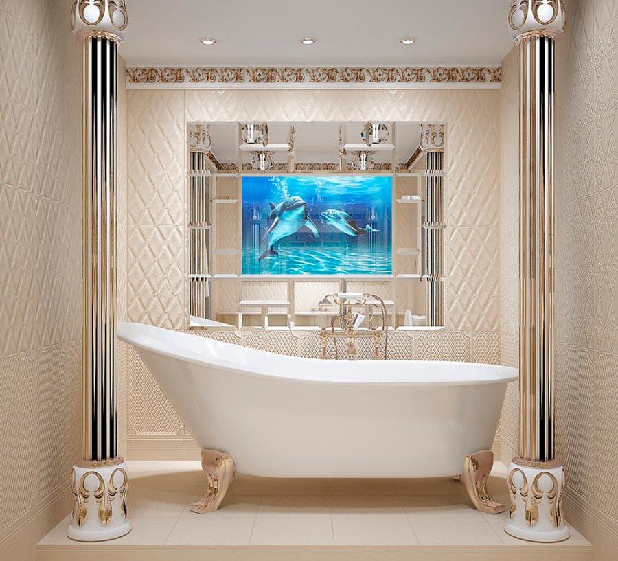 Другие варианты дизайна панно в ванной 23